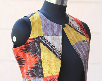 Kantha Silk Vinatge Jacket/Waist Coat