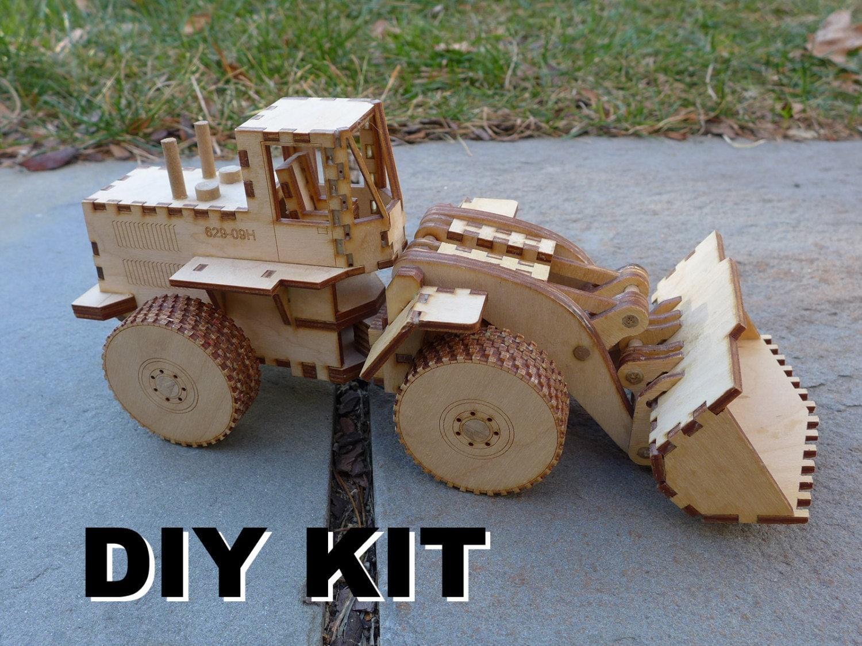 laser cut wood front end loader toy kit build it yourself