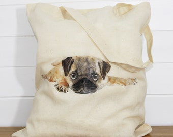 Pug Print Cotton Tote Bag
