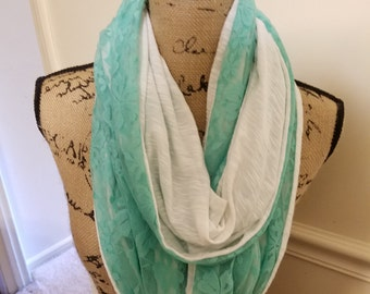 Reversible white knit and green lace infinity scarf