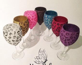 Glitter Top Animal Leopard Print Wine Glass