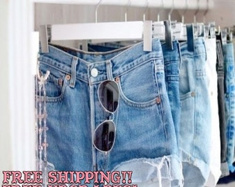High Waisted Shorts:Denim Hipster Made To Order Distressed Grunge Shorts-FREE SHIP