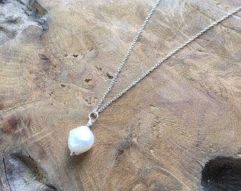 925 sterling silver necklace with a baroque freshwater pearl pendant