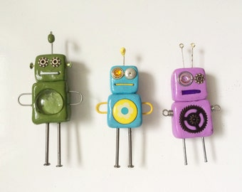 Set of 3 handmade Robot magnets made with found objects and polymer clay