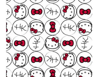 half yard (105cm x 45cm) cotton fabric - Hello Kitty Fabric faces Bow and Dots allover