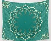 Green Tapestry, Mandala Tapestry, Wall Tapestries, Sea Green Wall Hanging Bohemian Tapestries, Boho Decor, Bedroom Decor, Home Decor