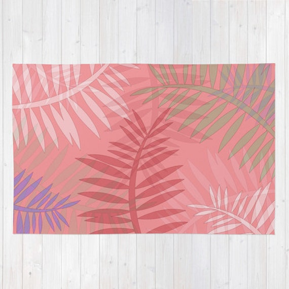 Pink Area Rug Decorative Rugs Mauve Green By DesignbyJuliaBars