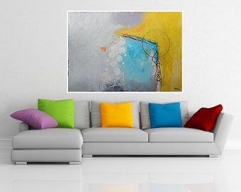 Abstract Large Painting Yellow Blue Grey White Purple Colorful Modern Artwork Mixed Media Contemporary Wall Art 100 x 70 cm 39.4 x 27.6 in