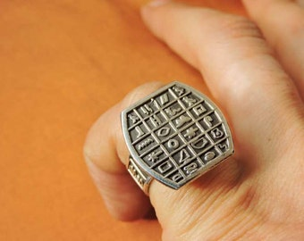 Antique Egyptian Sterling Silver Ring Band Adjustable of Ancient Hieroglyphics....STAMPED