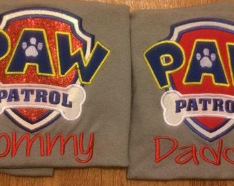 Paw Patrol Mommy Daddy Birthday Shirts