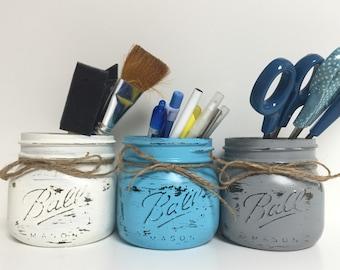 mason jar business card holder office decor sticky holder