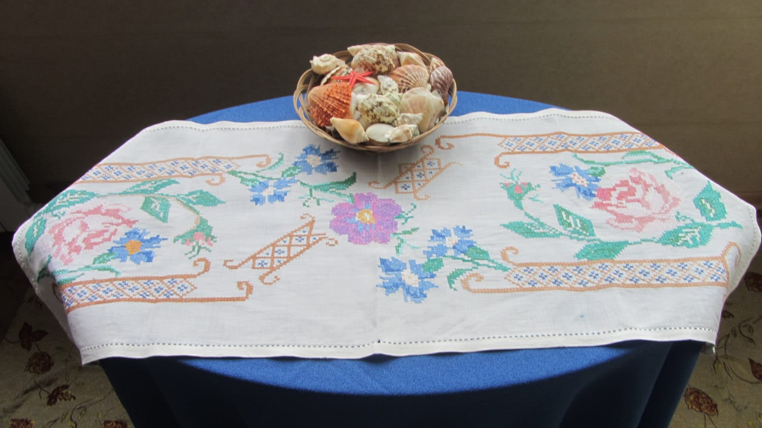 White Table Linen Embroidered Table, Floral Tablecloth, Embroidery Tablecloth, H