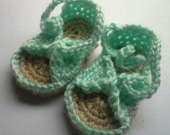 Crochet Bitty Bow Baby Sandals