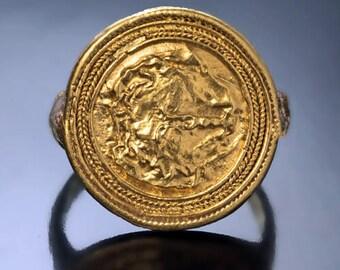 Ancient c. 300 BC Head of Medusa Gold Ring