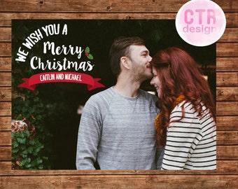 Printable We Wish You a Merry Christmas Photo Card