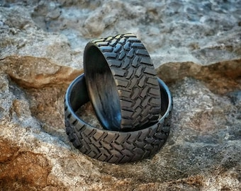 off road carbon fiber tread ring set strong light weight wedding ring - Mud Tire Wedding Rings