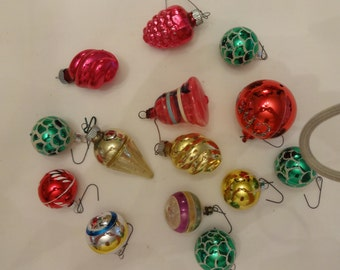 Christmas ornaments, vintage, glass. 14 Ornaments
