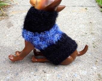 Angel Hair Azure & Ebony, Dog Sweater, blue dog sweaters, knit dog sweaters, small dog sweaters, dog sweaters, wool dog sweater