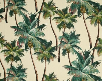 Tropical Fabric 100% cotton upholstery barkcloth Palm Trees on Natural Island Beach Coastal Hawaiian Luxe Polynesian Nature Cotton
