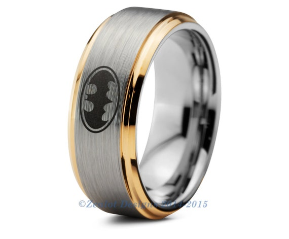 Batman tungsten wedding band ring mens womens by zealotdesigns for Mens batman wedding ring