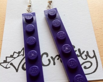 Long Lego earrings - Upcycled Long Lego dangle earrings with silver plated or gold earring hooks