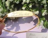 20% OFF** Actual Signature Engrave Bracelet  - Handwriting Bracelet - Oval Shape Bangle - Memorial Gift - Wedding Gift
