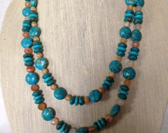 Mosaic Turquoise double stranded necklace