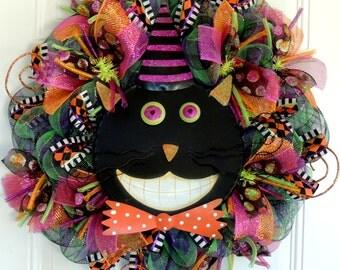 Black Cat Halloween wreath Wicked Witch Wreath Deco Mesh Wreath Halloween Door Hanger Fall Wreath Front Door wreaths
