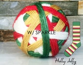 sparkle HOLLY JOLLY w/green mini | ready-to-ship | 84/16% Superwash merino and gold stellina