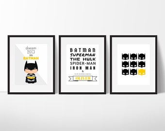 Batman Print Set, Batman Wall Art, Superhero Wall Art, Boys Room Decor, Superhero Art, Batman Printable, Boys Nursery, Instant Download