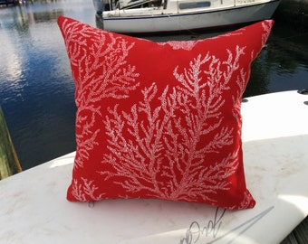 16x16 Indoor/outdoor coral pillow cover with  zipper