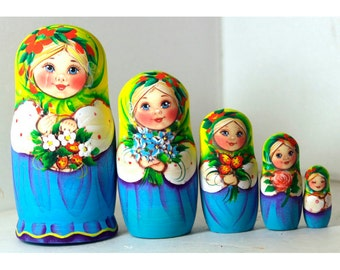 Nesting doll girl strawberries and flowers yellow blue - nesting dolls russian matryoshka babushka doll matrioshka Stacking dolls kod47k