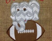 Elephant  Football Burlap Art Unframed, Garden Flag, Door Hanger