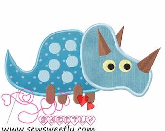 Cute Dino-1 Applique Design.