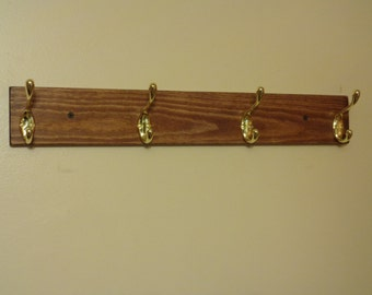 Coat Rack - Coat Hooks - Coat Organizer - Clothing Storage - 4 Hooks - Stained Finish - Ready To Hang