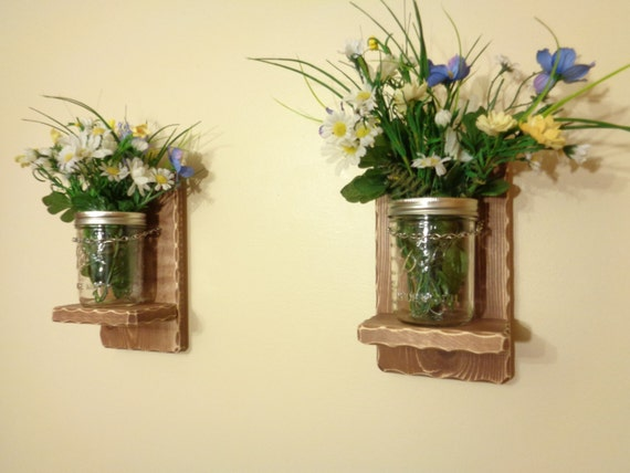 Wall Sconces Planters : Items similar to Wall Sconces - Mason Jar sconce - Planters - Vase - Wall Decor - A Pair ...