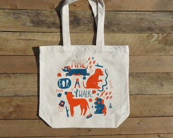 Time For A Walk Organic Tote Bag (orange and blue)