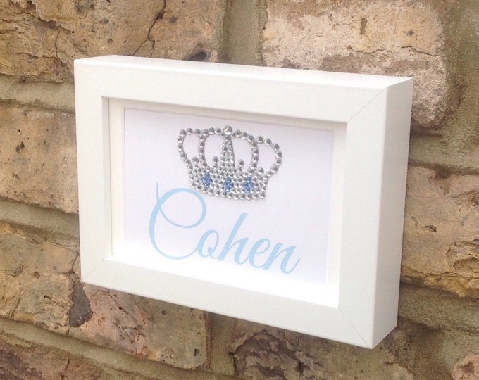 Personalised custom Crystal Crown or Tiara framed print | new baby gifts | Sparkle