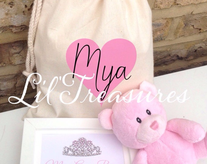 Personalised baby gift set. Framed crystal tiara/crown print | Teddy | Children's gift | Keepsake | Any words/colour | Birthday gift