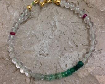 Ombrè Emerald, Ruby & Clear Quartz certified genuine gemstone luxury 9k yellow gold 925 sterling silver Tbar bohemian bracelet