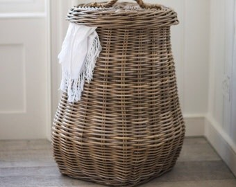 Country Home Rattan Tapered Laundry Basket, Complete with Sturdy Handles. BARA15