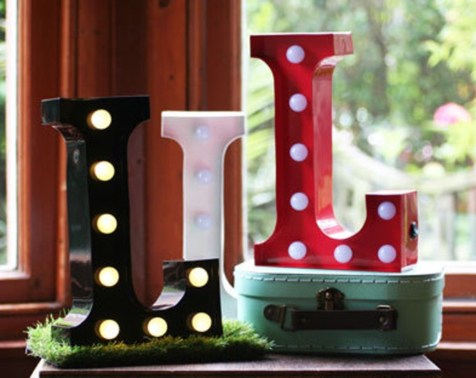 Vintage Carnival Style Marquee Light, Light up Letter L - Battery Operated/Various Colours - Perfect Night Light/Gift/Wedding Decor