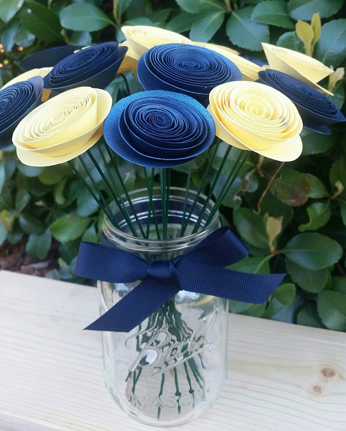 Yellow and navy paper flowers wedding table centerpiece baby
