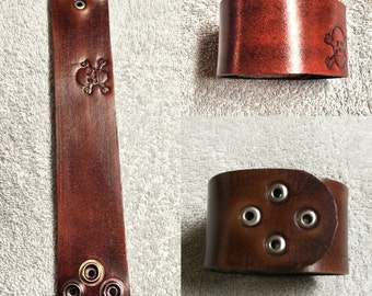 Skull Stamped Leather Cuff