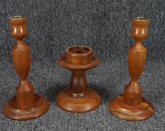 Vintage Walnutware Candle Holder Collection (3 Items)