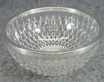 "Vintage Silver Rim 8"" Glass Serving Bowl With Diamond Shaped Design"