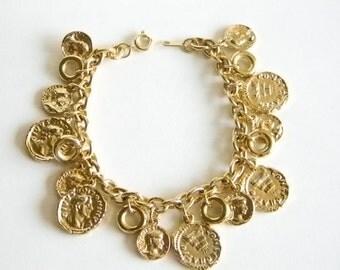 Gold Tone Roman Greek Chain Link Charm Bracelet