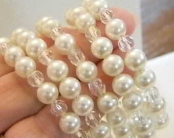 Vintage White Pearls With Clear Crystals Memory Wire Wrap Bracelet