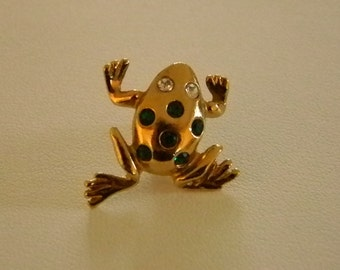 AVON Gold Tone Frog with Green Clear Stones Pin Brooch
