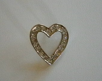 AVON Silver Tone Clear Crystal Open Heart Tack Pin Brooch